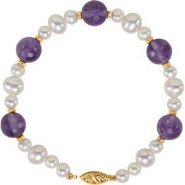 "14K Yellow Freshwater Cultured Pearl & Amethyst 7.5"" Bracelet"