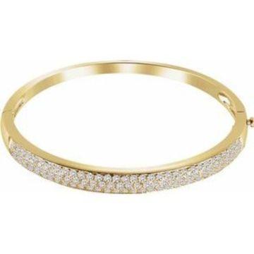 "14K Yellow 3 CTW Diamond Pave' Bangle 7"" Bracelet"