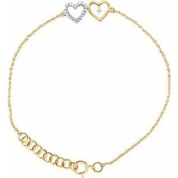 "10K Yellow .07 CTW Diamond Double Heart 7"" Bracelet"