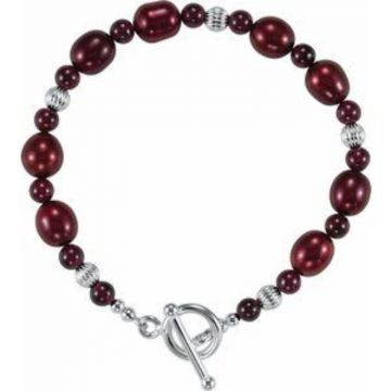 """Sterling Silver Red Freshwater Cultured Pearl & Rhodolite Garnet 7 1/2"""" Bracelet"""