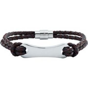 """Dark Brown Leather & Stainless Steel 8.5"""" Bracelet"""