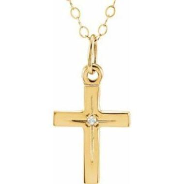 "14K Yellow .005 CT Diamond Cross 15"" Necklace"