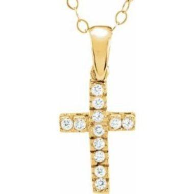 "14K Yellow 1.2 mm Round Cubic Zirconia Cross 15"" Necklace"