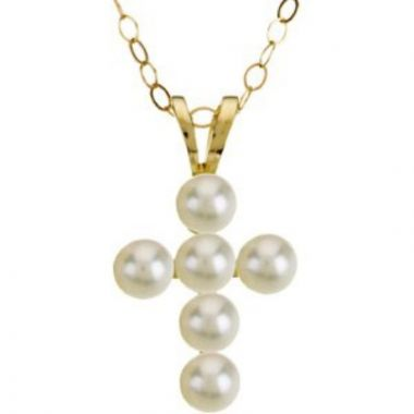 """14K Yellow Freshwater Cultured Pearl Cross 15"""" Necklace"""