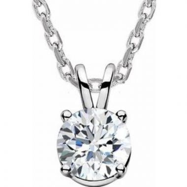 """14K White  5/8 CT Lab-Grown Diamond Solitaire 16-18"""" Necklace"""