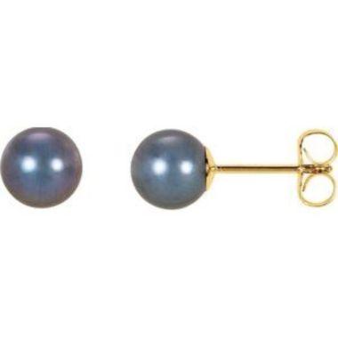 14K Yellow 6.5-7 mm Black Freshwater Cultured Pearl Earrings