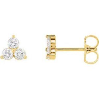 14K Yellow 5/8 CTW Three-Stone Diamond Earrings