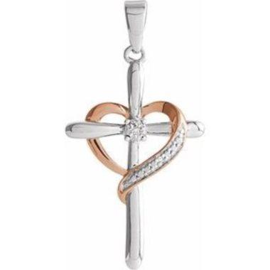 Sterling Silver 31x15.7 mm Diamond Heart Cross Pendant
