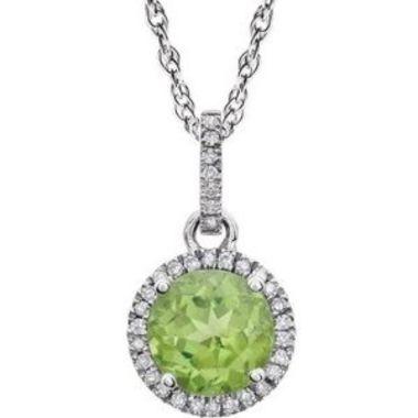 "14K White Peridot & 1/10 CTW Diamond 18"" Necklace"