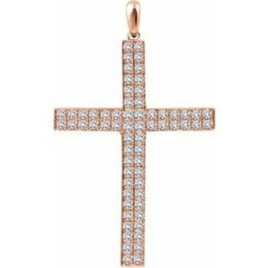 14K Rose 1 CTW Diamond Cross Pendant