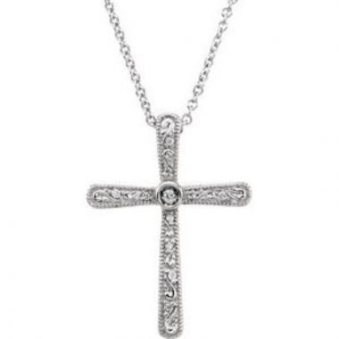 "14K White .05 CTW Diamond Cross 18"" Necklace"