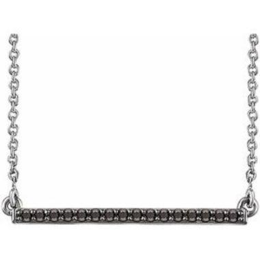 "14K White 1/6 CTW Black Diamond Bar 18"" Necklace"