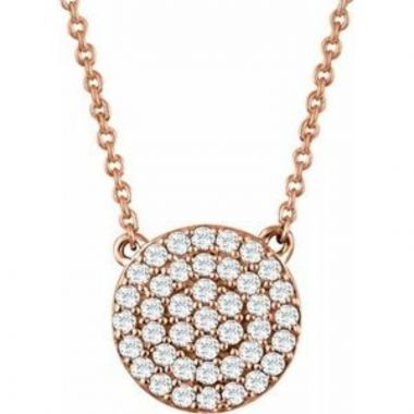 "14K Rose 1/3 CTW Diamond Cluster 16-18"" Necklace"