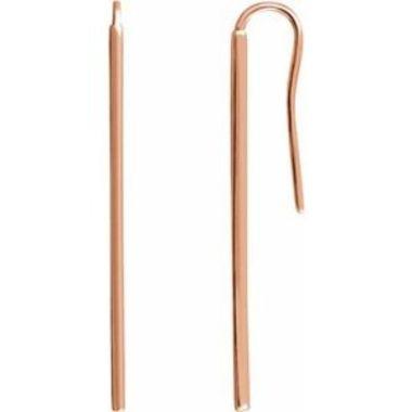 14K Rose Vertical Bar Earrings