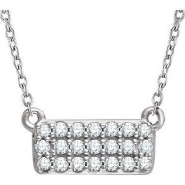 "14K White 1/6 CTW Diamond Cluster 16-18"" Necklace"