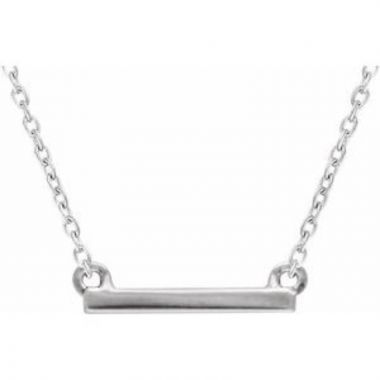 """Sterling Silver 18x1.5 mm Petite Bar 16-18"""" Necklace"""