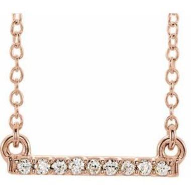 "14K Rose .07 CTW Petite Diamond Bar 16-18"" Necklace"