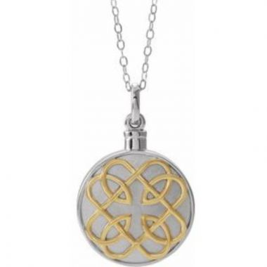 """Sterling Silver 14K Yellow Gold-Plated Celtic-Inspired Ash Holder 18"""" Necklace"""