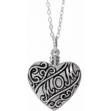 "Sterling Silver Mom Heart Ash Holder 18"" Necklace"
