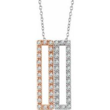 14K White & Rose 1/3 CTW Diamond Rectangle 16-18 Inch Necklace