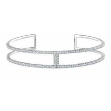 "14K White 3/4 CTW Diamond Cuff 6"" Bracelet"