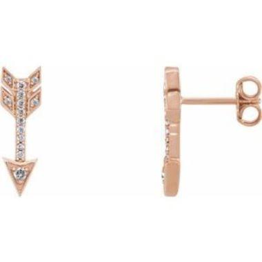 14K Rose 1/6 CTW Diamond Arrow Earrings