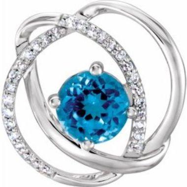 14K White Swiss Blue Topaz and 1/10 CTW Diamond Pendant