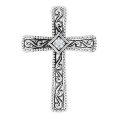 14K White .01 CTW Diamond Cross Pendant