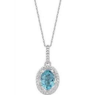"Sterling Silver Sky Blue Topaz & .01 CTW Diamond 18"" Necklace"