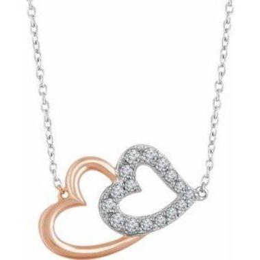 "14K White & Rose 1/5 CTW Diamond Double Heart 16-18"" Necklace"