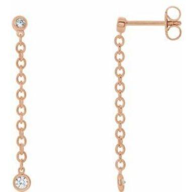 14K Rose 1/5 CTW Diamond Bezel Set Chain Earrings