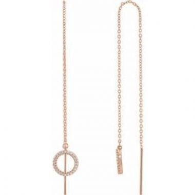 14K Rose 1/6 CTW Diamond Geometric Chain Earrings