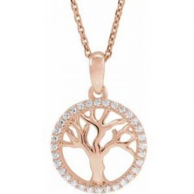 "14K Rose 1/5 CTW Diamond Tree of Life 16-18"" Necklace"