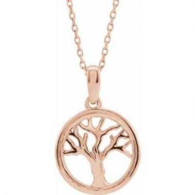 """14K Rose Tree of Life 16-18"""" Necklace"""