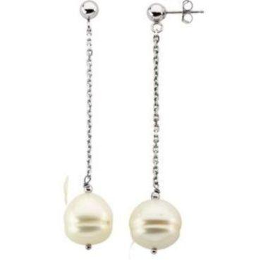 Sterling Silver 9-11 mm Freshwater Cultured Pearl Dangle Earrings