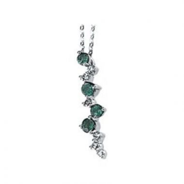 """14K White Emerald & 1/10 CTW Diamond Scattered Bar 18"""" Necklace"""