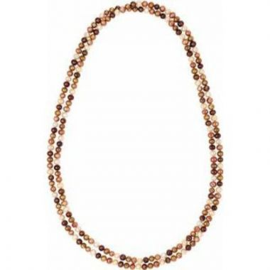 """Freshwater Cultured Dyed Chocolate Pearl Rope 72"""" Necklace"""