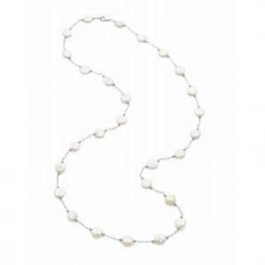 """Sterling Silver 12-13 mm Freshwater Cultured White Coin Pearl Station 38"""" Necklace"""