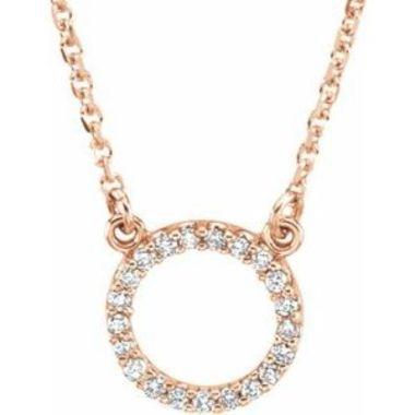 "14K Rose 1/10 CTW Diamond Circle 16"" Necklace"