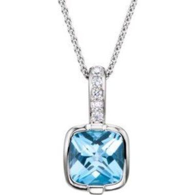"""14K White Swiss Blue Topaz & .05 CTW Diamond 18"""" Necklace"""