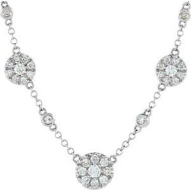 "14K White 1/2 CTW Diamond Cluster Station 18"" Necklace"
