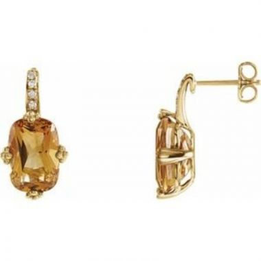 14K Yellow Citrine & .06 CTW Diamond Earrings