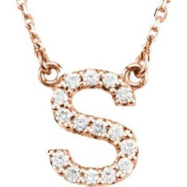 "14K Rose Initial S 1/8 CTW Diamond 16"" Necklace"