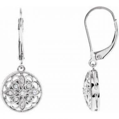 Sterling Silver 1/10 CTW Diamond Lever Back Earrings