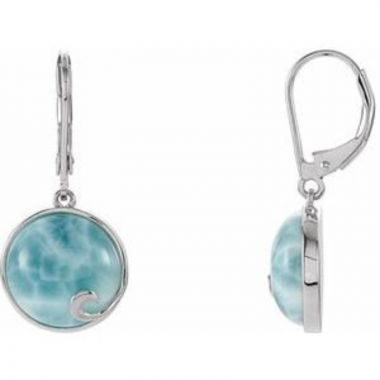 Sterling Silver Larimar Lever Back Earrings
