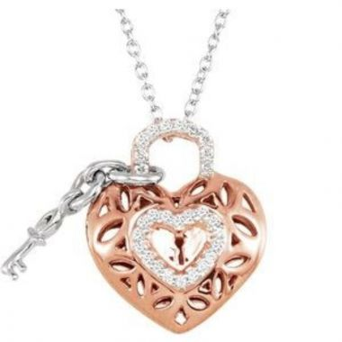"""14K Rose Gold-Plated Sterling Silver 1/6 CTW Diamond Heart 18"""" Necklace"""