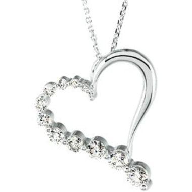 "14K White 1 CTW Diamond Journey Heart 18"" Necklace"