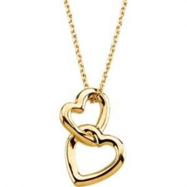 """14K Yellow Double Heart 18"""" Necklace"""
