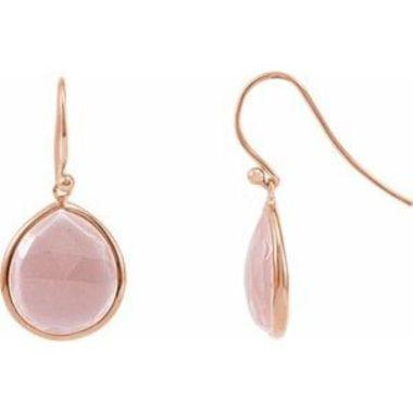 14K Rose Gold-Plated Sterling Silver Rose Quartz Bezel-Set Earrings