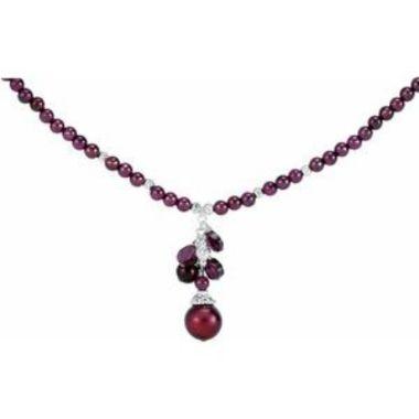 "Sterling Silver Freshwater Cultured Pearl & Rhodolite Garnet 16-18"" Necklace"